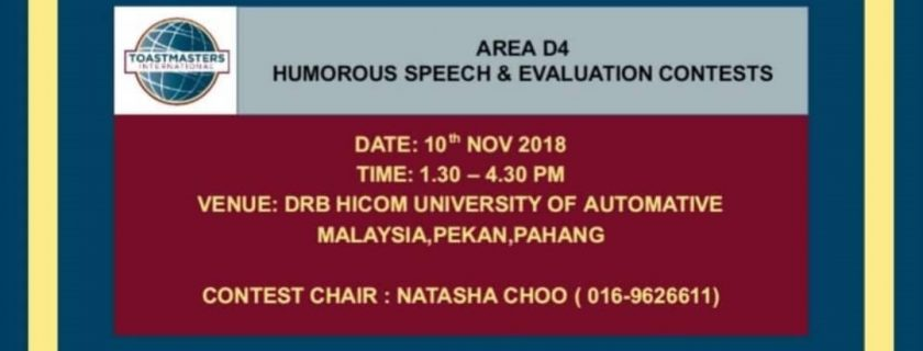 Toastmaster Area D4 Humorous Speech and Evaluation Contest